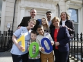 Luke Concannan, Courtney Kealy and Salem Alhag with members of staff from Temple Street