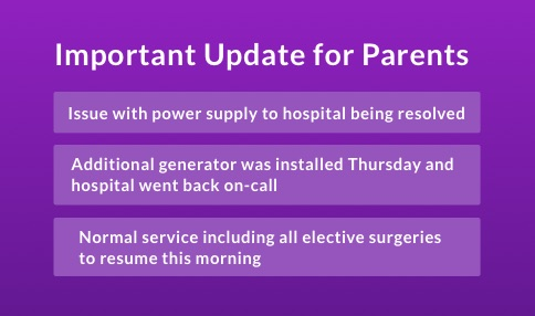 URGENT – Temple Street has experienced a significant issue with the power supply to the hospital / HOSPITAL OFF-CALL