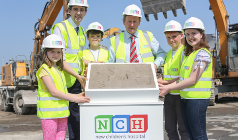 An Taoiseach, Mr. Enda Kenny TD is joined by Minister for Health Simon Harris TD and members of the Youth Advisory Council to cast the foundation stone for the new children's hospital
