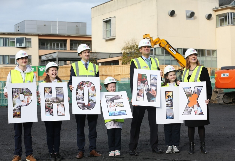 An Taoiseach and Minister for Health turn the first sod for the new Paediatric Outpatients and Urgent Care Centre on the ground of Connolly Hospital while also welcoming the name for the Children's Hospital Group