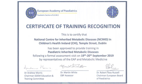 Congratulations to all Staff at the National Centre for Inherited Metabolic Disorders (NCIMD) for winning International Recognition